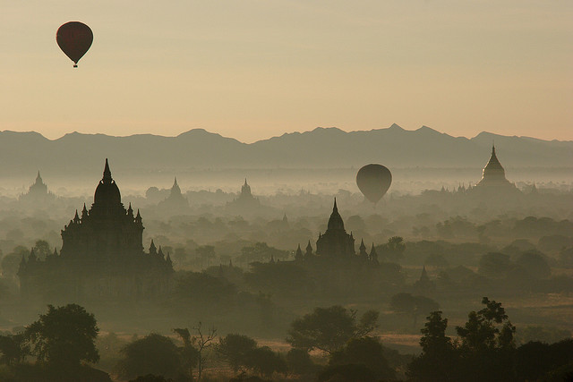 sunrise over bagan myanmar