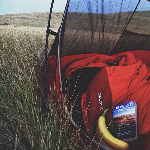 camping south dakota with book