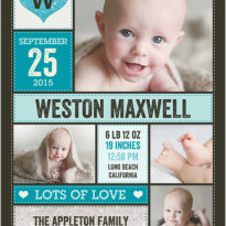 baby boy birth announcement shutterfly - multiple photos