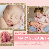 baby girl birth announcement pink 3 photos
