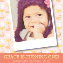 1st birthday invitations for a girl polaroid photo