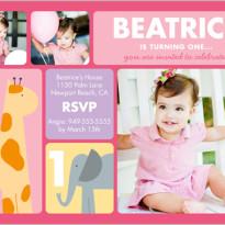 Discount birthday party invitations baby girl giraffe elephant
