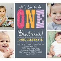 multi photo first birthday party invites