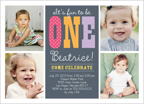 1st birthday photo invites girl multiphoto shutterfly OMG Photos