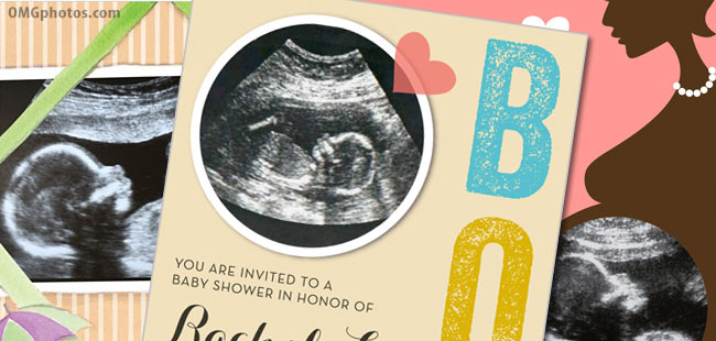 baby ultrasound photo shower invitations