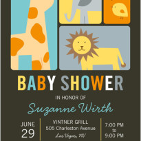 baby shower invitation with zoon animals giraffe