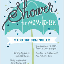 baby shower invitations for girl with umbrella