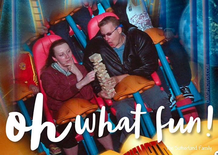 funny theme park holiday card roller coaster jenga