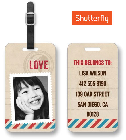 personalized luggage tag from shutterfly