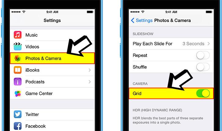 iphone settings camera grid